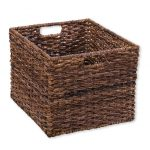 Brown storage cube basket isolated on white